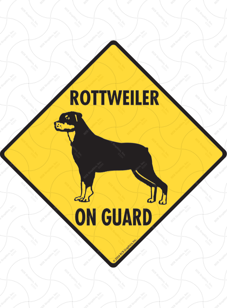 Rottweiler On Guard Dog Signs and Sticker