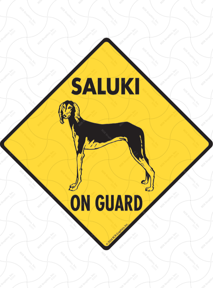 Saluki On Guard Dog Signs and Sticker