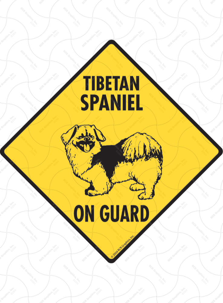 Tibetan Spaniel On Guard Dog Signs and Sticker