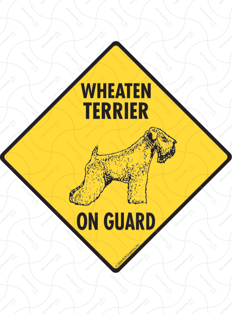 Wheaten Terrier On Guard Dog Signs and Sticker