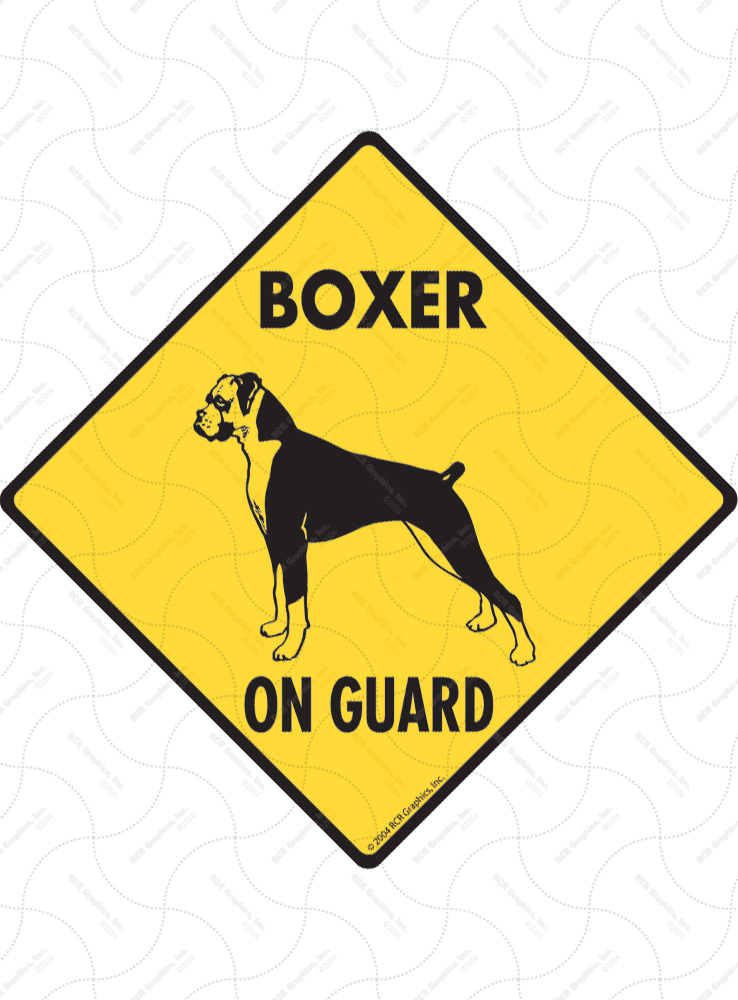 Boxer (Natural Ears) On Guard Dog Signs and Sticker