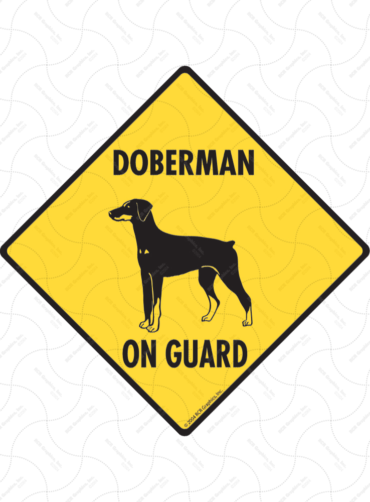 Beware of the Dog Sign Plastic Pre-drilled Doberman