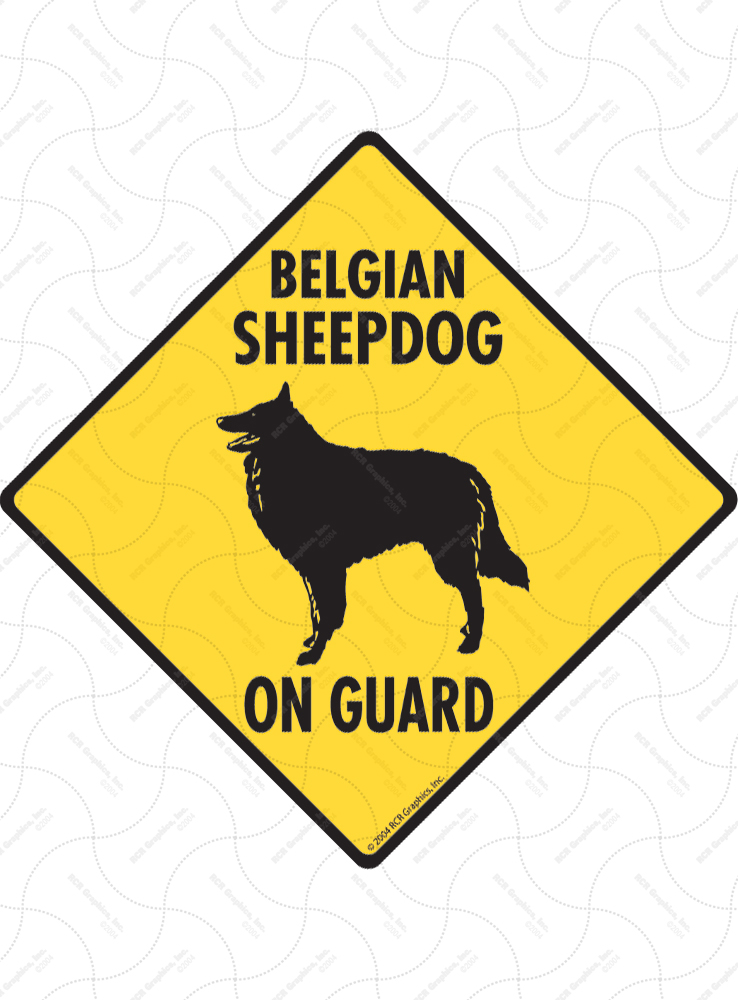 Belgian Sheepdog On Guard Dog Signs and Sticker