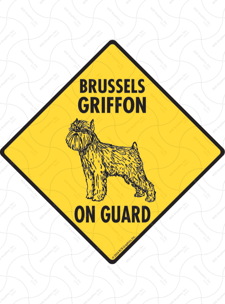 Brussels Griffon On Guard Dog Signs and Sticker