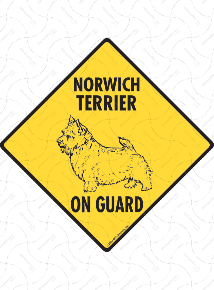 Norwich Terrier On Guard Dog Signs and Sticker