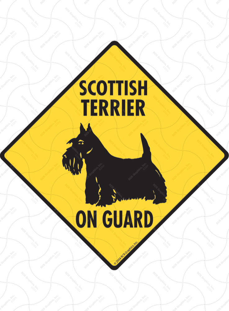 Scottish Terrier On Guard Dog Signs and Sticker
