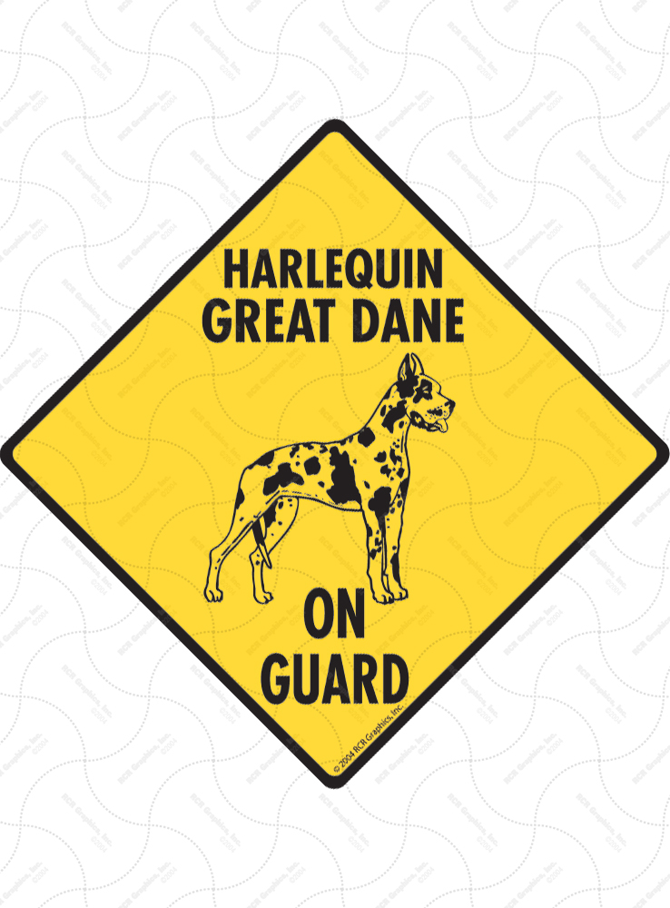 Harlequin Great Dane On Guard Dog Signs and Sticker