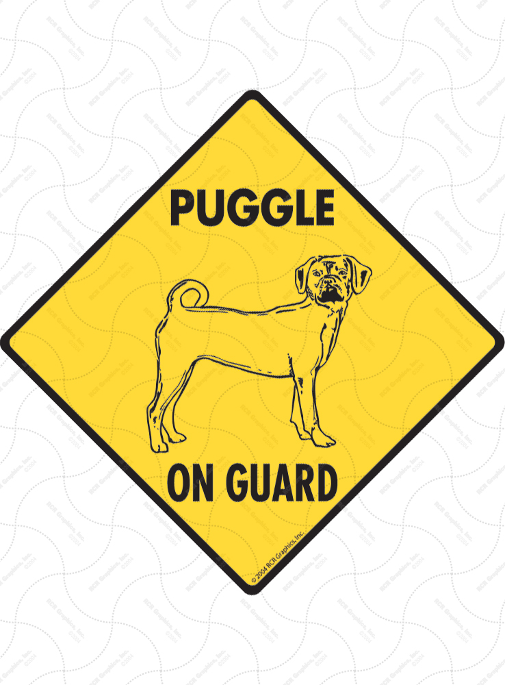 Puggle On Guard Dog Signs and Sticker