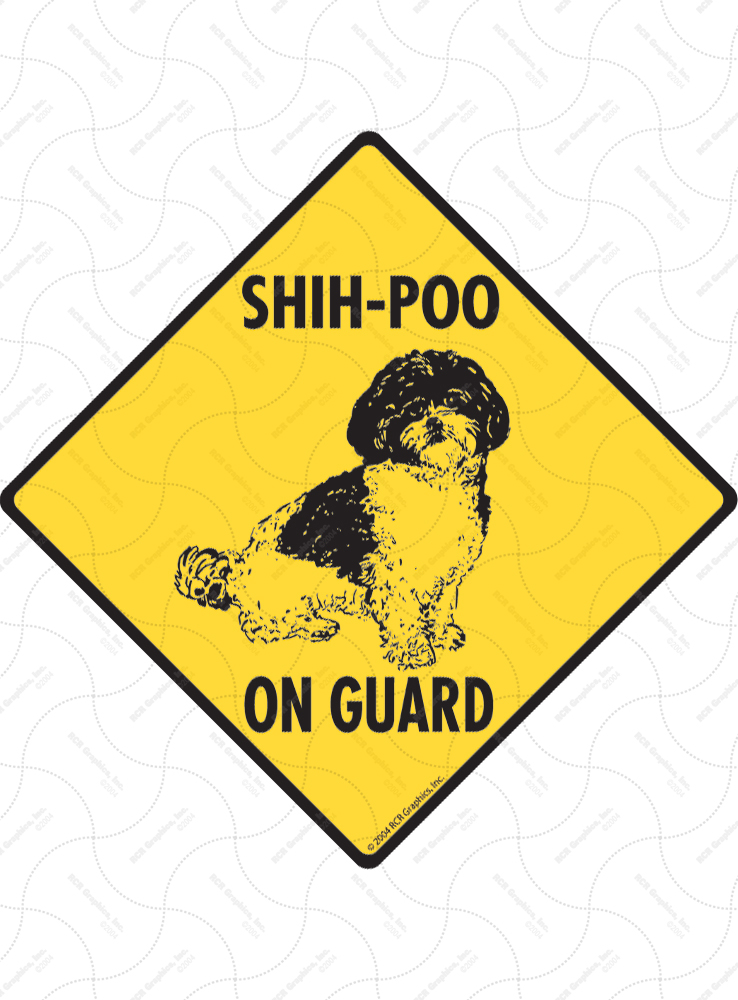 Shih-Poo On Guard Dog Signs and Sticker