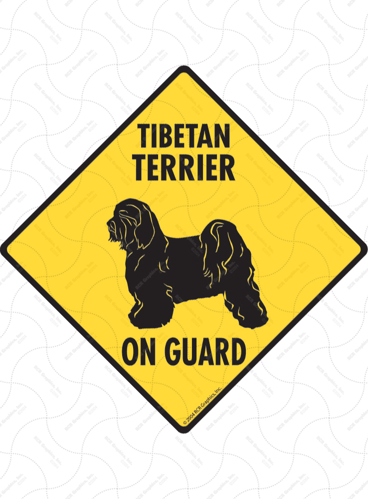 Tibetan Terrier On Guard Dog Signs and Sticker