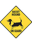 Basset Hound On Guard Dog Signs and Sticker