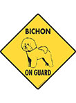 Bichon Frise On Guard Dog Signs and Sticker