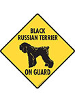 Black Russian Terrier On Guard Dog Signs and Sticker