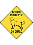 Golden Retriever On Guard Dog Signs and Sticker