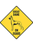 Great Dane On Guard Dog Signs and Sticker