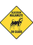 Alaskan Malamute On Guard Dog Signs and Sticker
