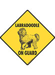 Labradoodle On Guard Dog Signs and Sticker
