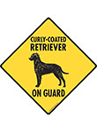 Curly-Coated Retriever On Guard Dog Signs and Sticker