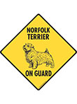Norfolk Terrier On Guard Dog Signs and Sticker