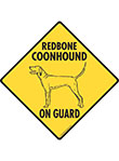 Redbone Coonhound On Guard Dog Signs and Sticker