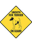 Smooth Fox Terrier On Guard Dog Signs and Sticker