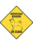 Norwegian Buhund On Guard Dog Signs and Sticker