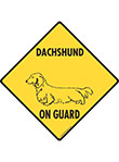 Dachshund (Long Hair) On Guard Dog Signs and Sticker