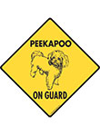 Peekapoo On Guard Dog Signs and Sticker