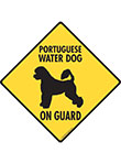 Portuguese Water Dog On Guard Signs and Sticker