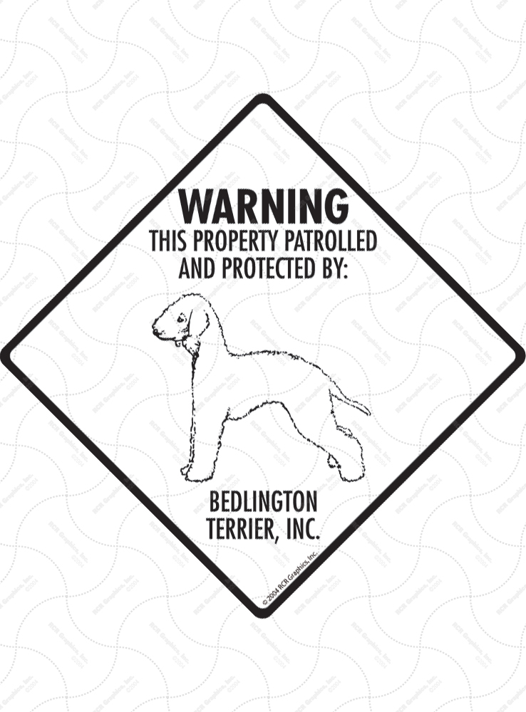 Bedlington Terrier! Property Patrolled Signs and Sticker
