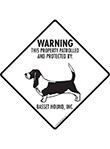 Basset Hound! Property Patrolled Signs and Sticker