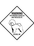 Bichon Frise! Property Patrolled Signs and Sticker