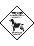 English Cocker Spaniel! Property Patrolled Signs and Sticker