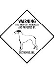 Greyhound! Property Patrolled Signs and Sticker