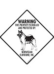 Norwegian Elkhound! Property Patrolled Signs and Sticker