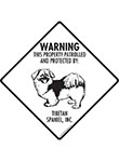 Tibetan Spaniel! Property Patrolled Signs and Sticker