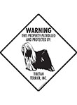 Tibetan Terrier! Property Patrolled Signs and Sticker