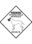 Great Dane! Property Patrolled Signs and Sticker