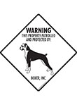 Boxer (Natural Ears) Property Patrolled Signs and Sticker