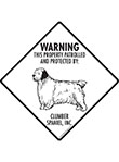 Clumber Spaniel! Property Patrolled Signs and Sticker