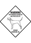 Redbone Coonhound! Property Patrolled Signs and Sticker