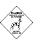 Harlequin Great Dane! Property Patrolled Signs and Sticker