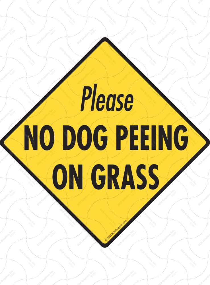 No Dog Peeing on Grass Signs and Sticker