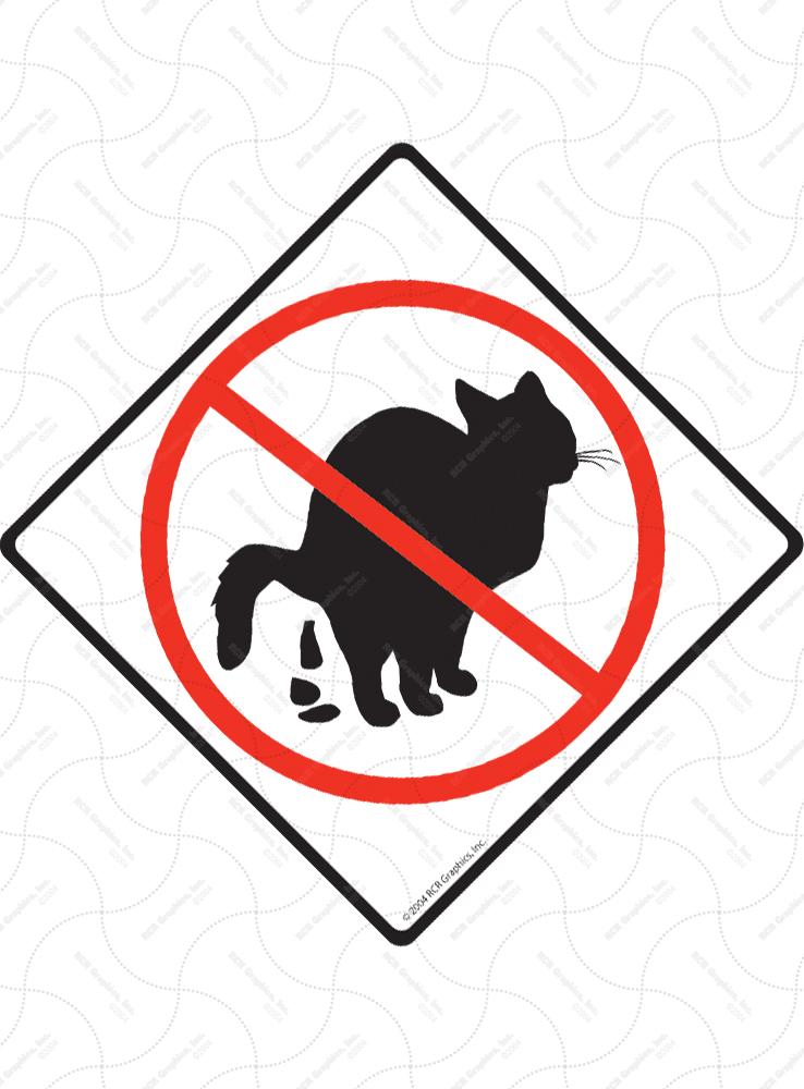 No Cat Pooping Signs and Sticker