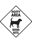 Potty Area with Dog Standing and Behind Hotel Signs or Sticker
