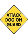 Attack Dog on Guard Signs and Sticker