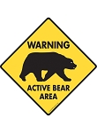 Warning! Active Bear Area Signs and Sticker
