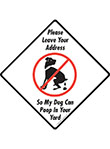 Leave Your Address Dog Poop Signs and Sticker