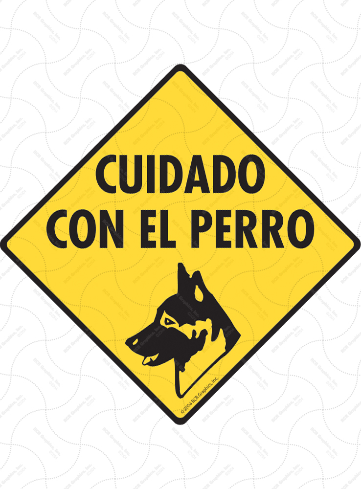 Cuidado Con El Perro (Beware of Dogs) Signs and Sticker