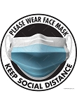 Face Mask & Social Distance Signs or Sticker
